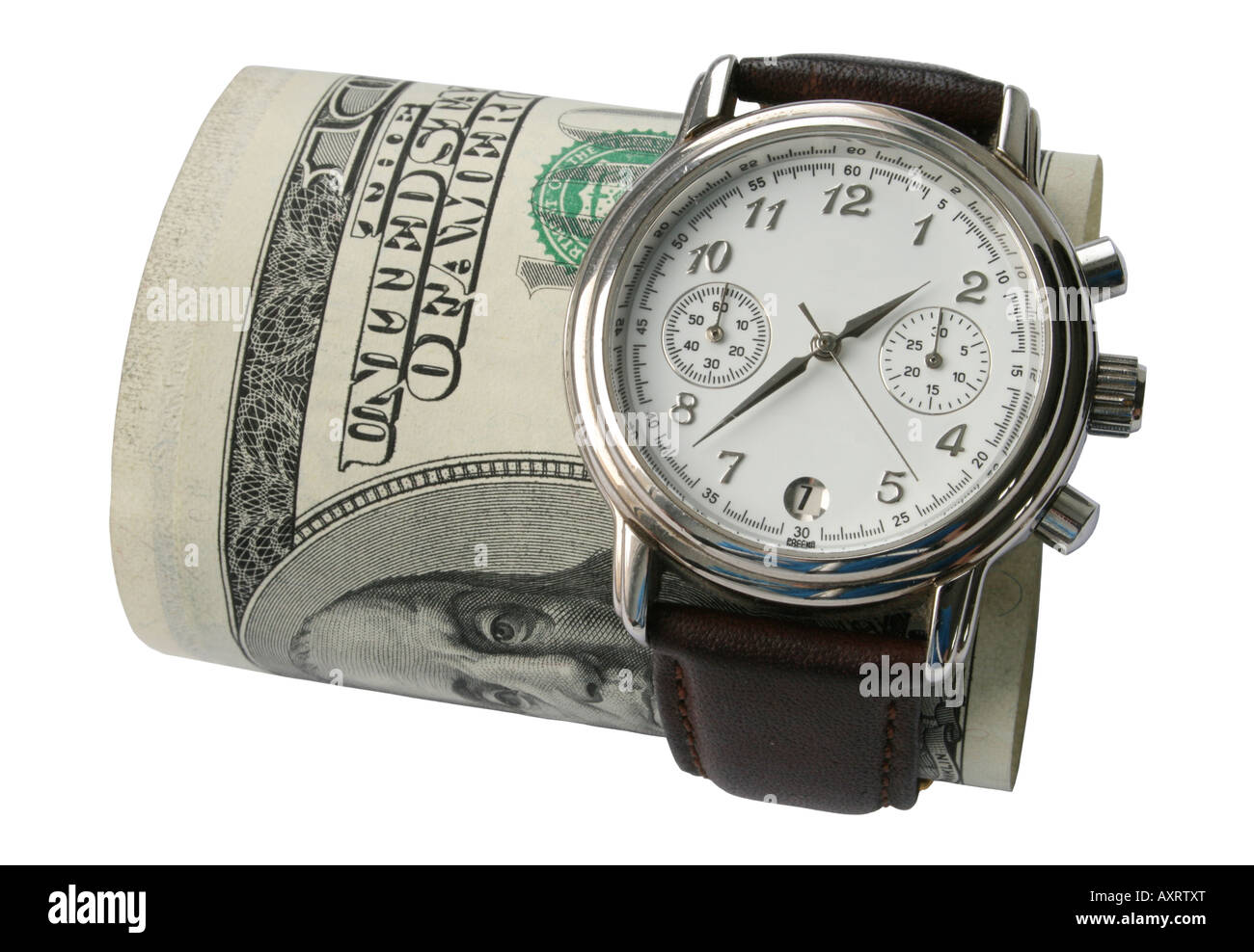 Business watch and bill of hundred dollars (isolated on white) - Stock Image