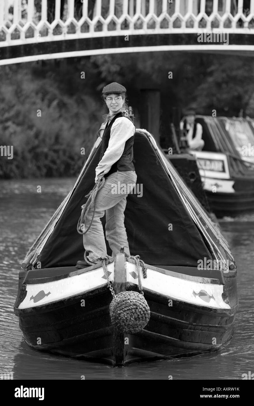 B&W taditional FMC narrowboat & butty on the Grand Union Canal Stock Photo
