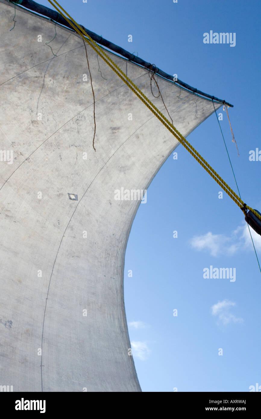 Sail of a dhow in Chole Bay off Mafia Island Tanzania - Stock Image