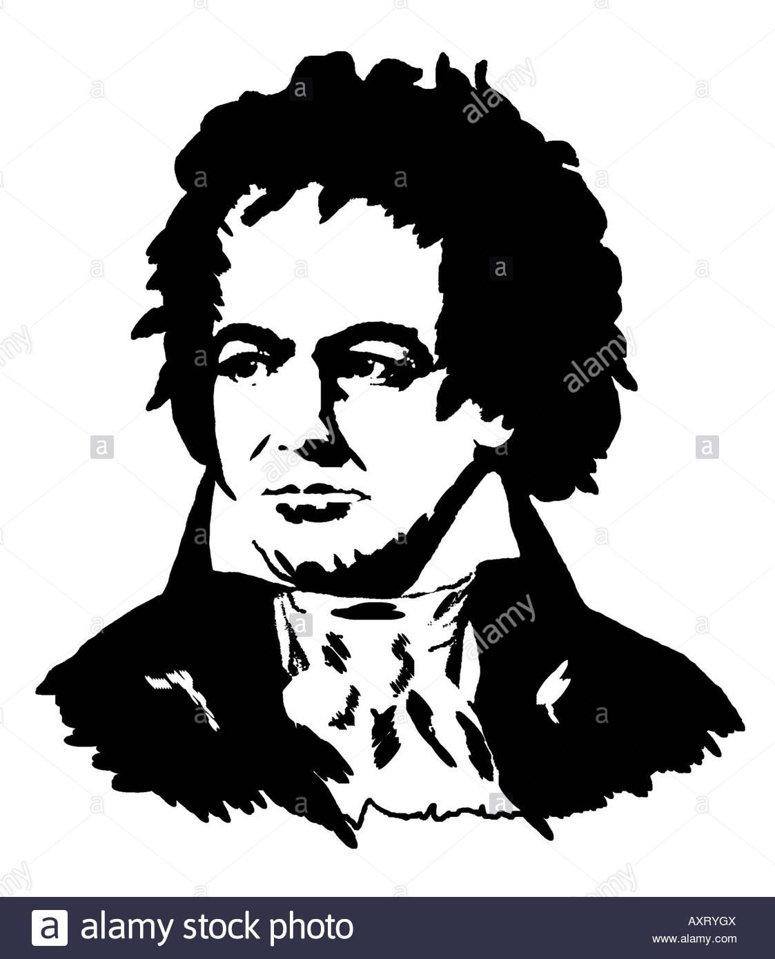 Ludwig van Beethoven 1770 1827 German Composer Poster Style Modern Illustration - Stock Image