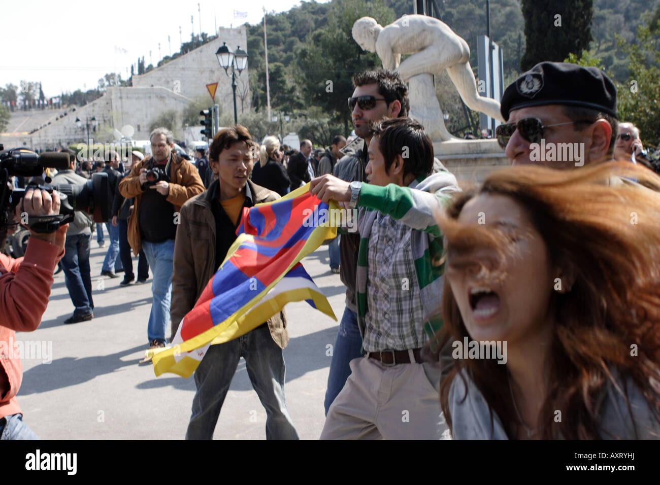 Tibetans demonstrators outside Panathenaikon stadium at the handing over ceremony of the Olympic Flame to Chinese - Stock Image