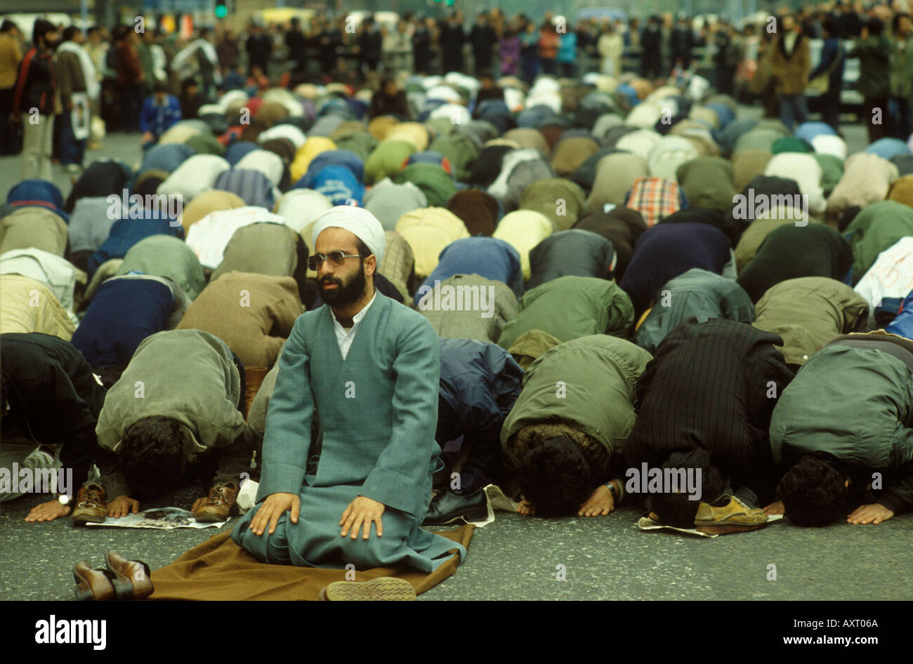 Iranian Embassy siege Muslims praying in the streets for peace  London England May 1980 1980S HOMER SYKES - Stock Image