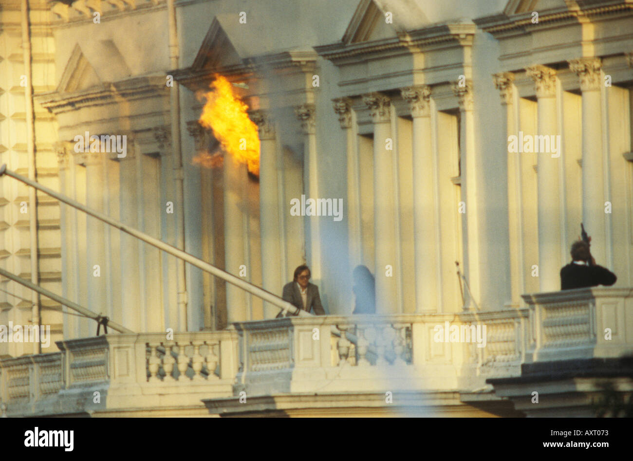 """Iranian Embassy siege May 5th 1980 London UK 1980s Simeon """"Sim"""" Harris escaping from the building. UK HOMER SYKES Stock Photo"""
