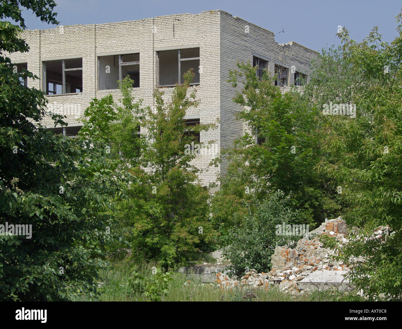 Chernobyl exclusion zone abandoned derelict decaying three storey white brick building amidst rich thriving foliage, Belarus - Stock Image