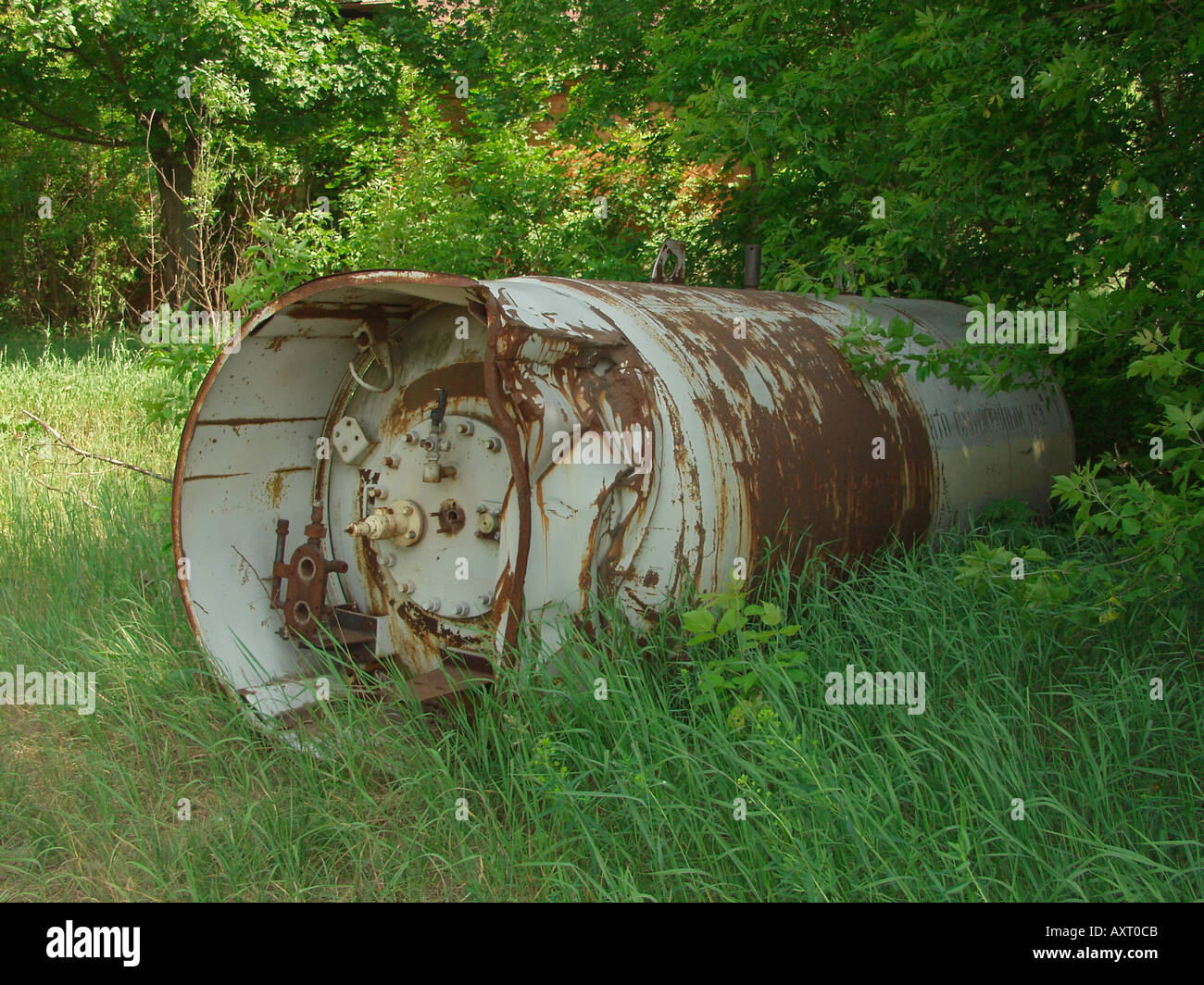 Abandoned gas cylinder in village close to Ukraine Belarus border in Chernobyl exclusion zone - Stock Image