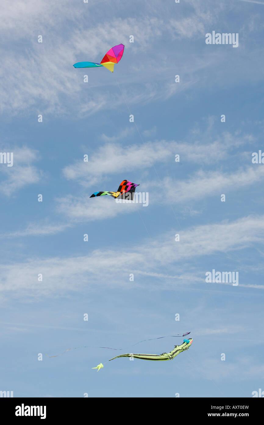 Kites flying against blue sky, The Mall, Washington DC, USA Stock Photo