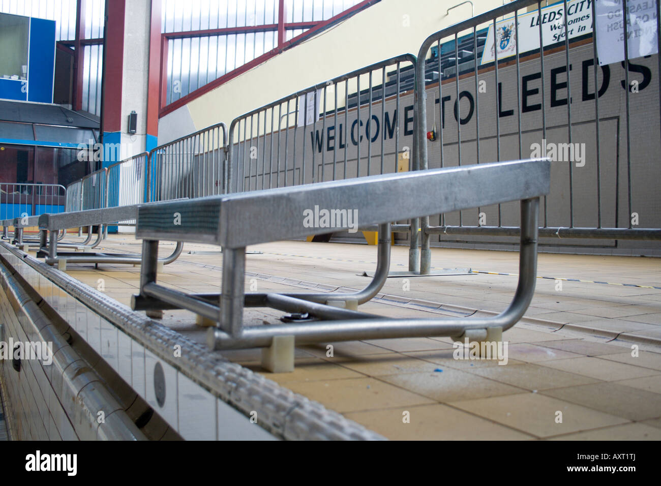 Race start platforms in the leeds international pool welcome to stock photo 16909937 alamy for Leeds international swimming pool