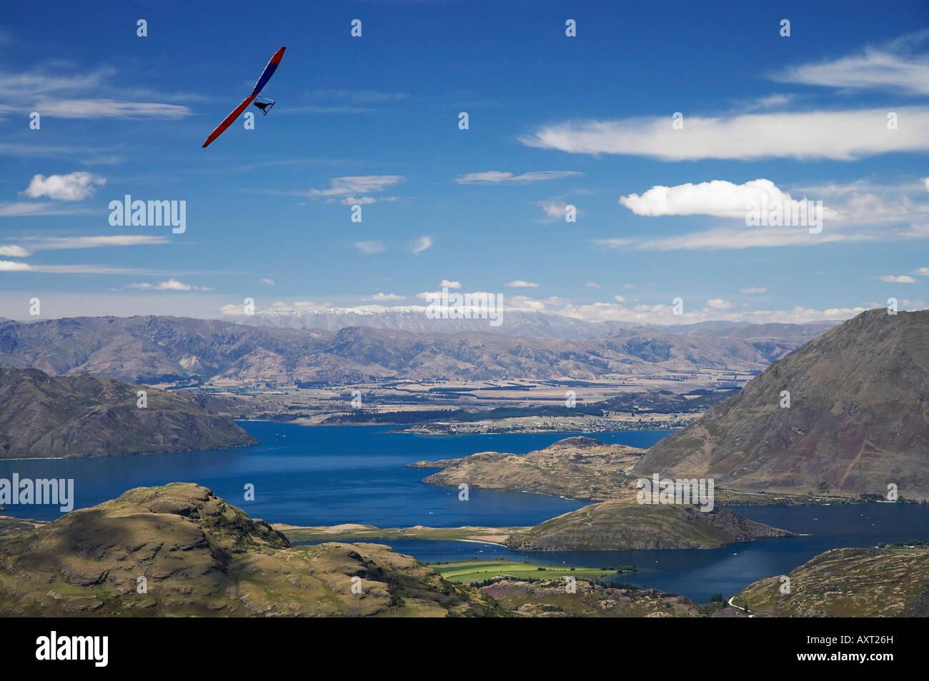 Hang Glider above Lake Wanaka South Island New Zealand - Stock Image