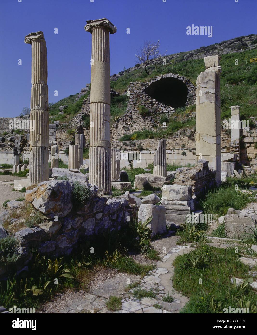geography / travel, Turkey, Ephesus, temple area, Dea Romanies, Devius Julius, ruins, archaeology, ancient, excavations, - Stock Image