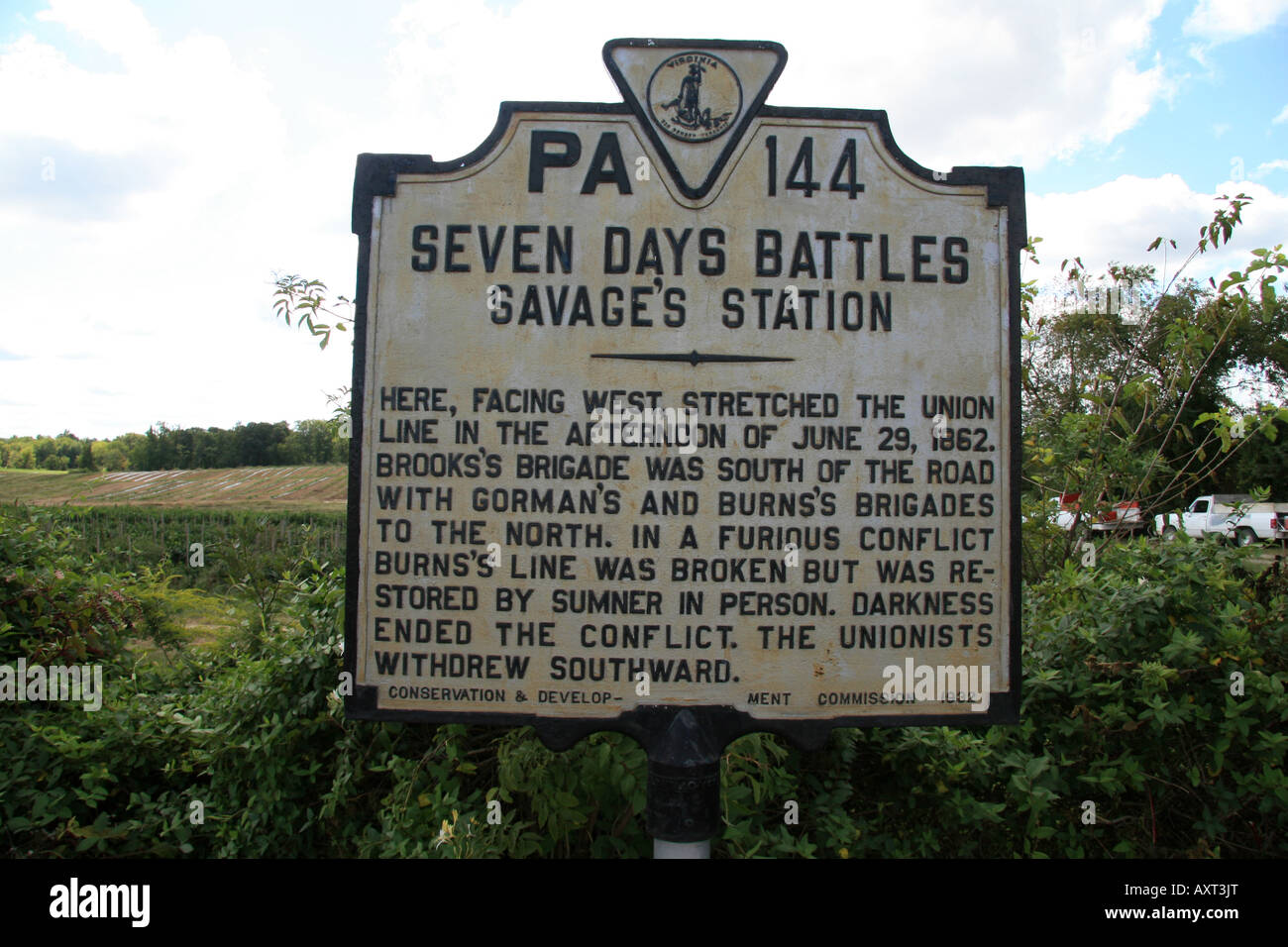 A memorial plaque marking the Battle of Savage's Station, Richmond, Virginia. - Stock Image