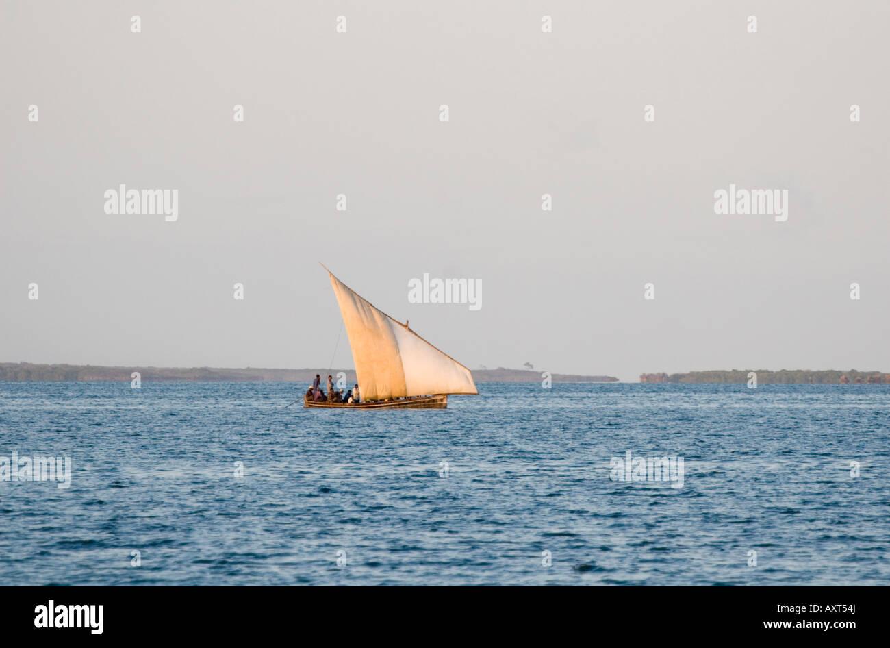 Dhow in Chole Bay off Mafia Island Tanzania - Stock Image