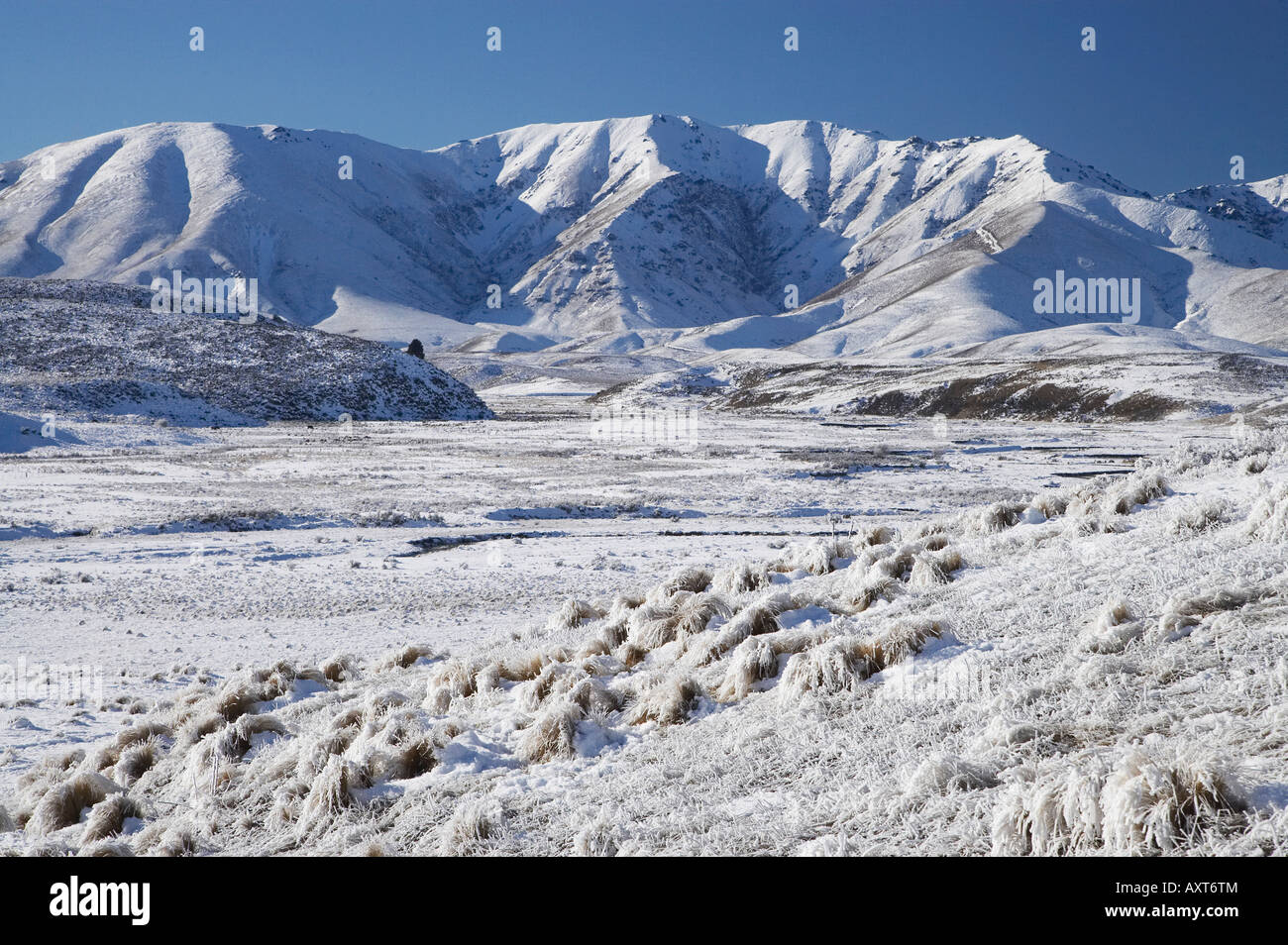Mount Ida and Ida Range in Winter Maniototo South Island New Zealand - Stock Image