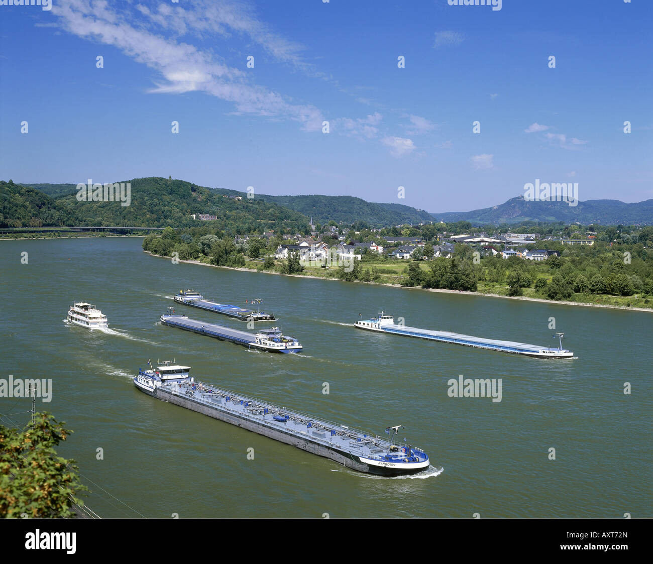 geography / travel, Germany, transport / transportation, cargo ships on the Rhine River, near Unkel, Additional-Rights-Clearance-Info-Not-Available Stock Photo