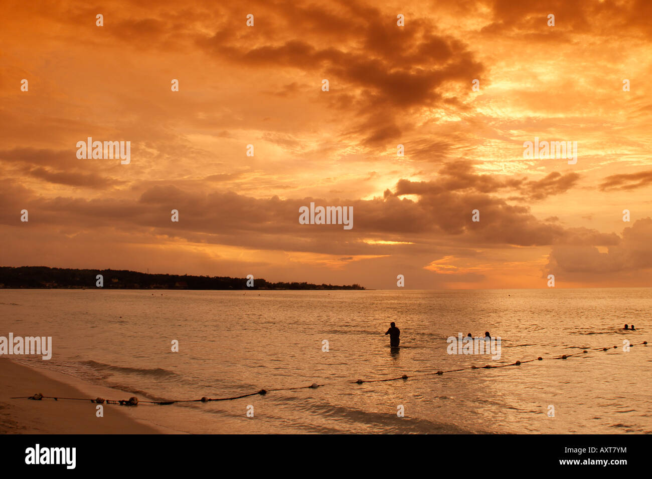Jamaica Negril beach sunset - Stock Image