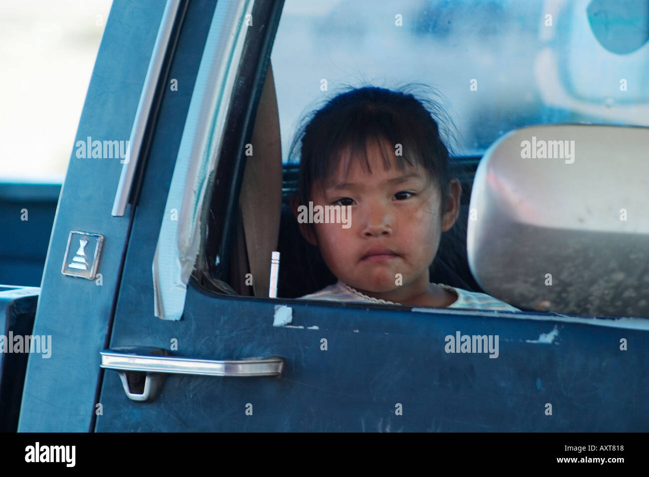Young girl in truck - Stock Image