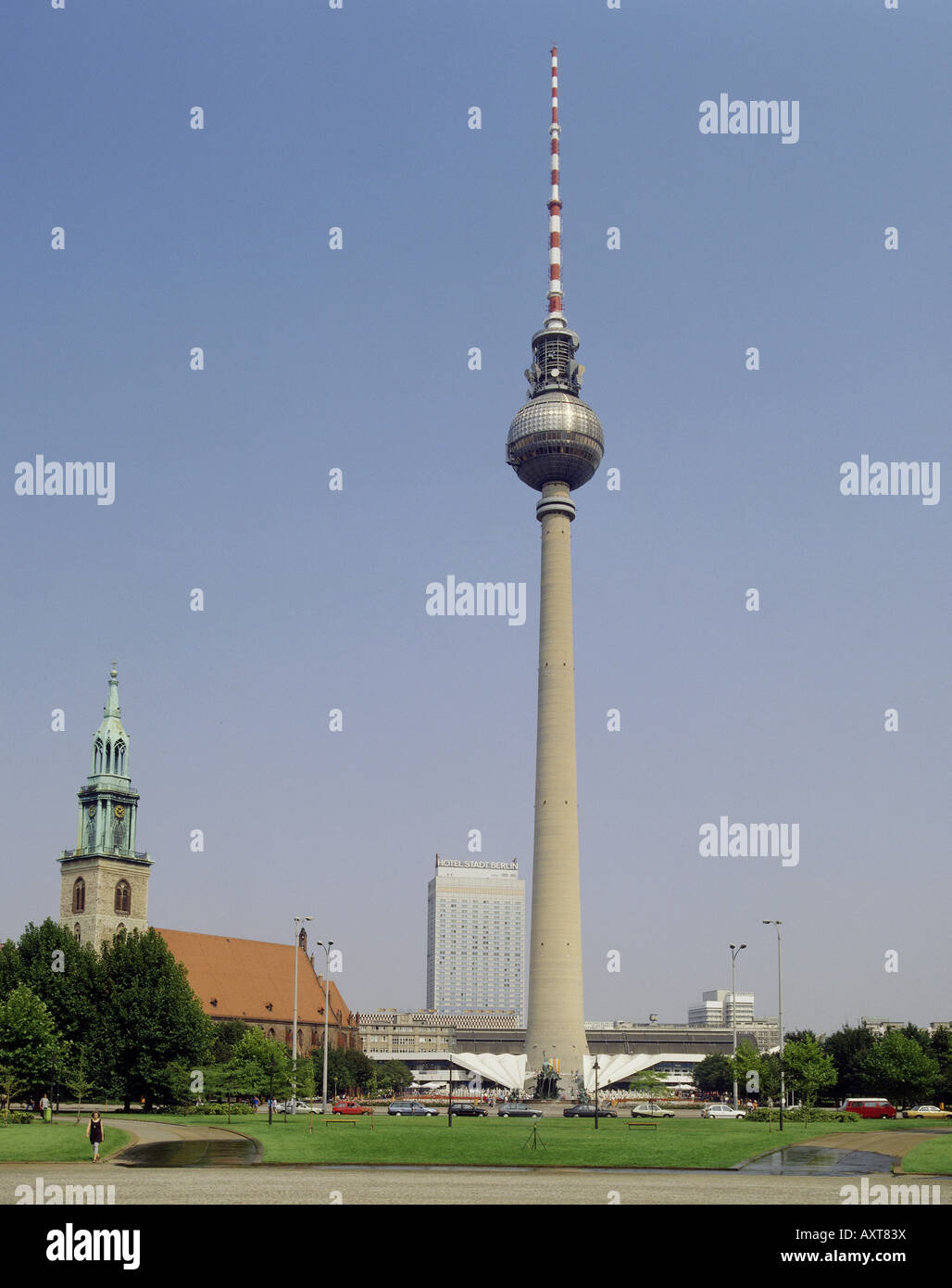 geography / travel, Germany, Berlin, television tower, Alexanderplatz, Hotel Stadt Berlin,   , Additional-Rights - Stock Image