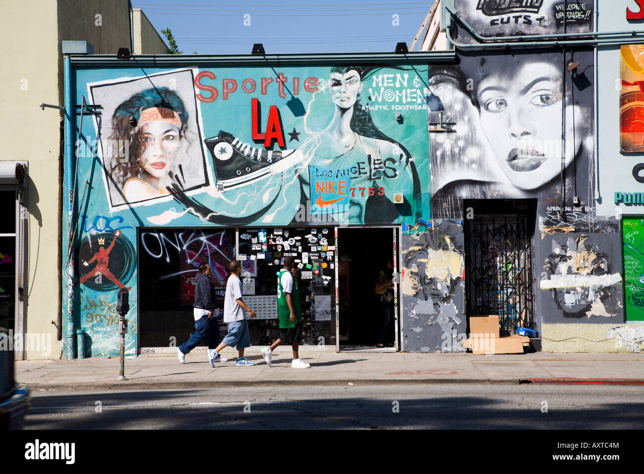 Sneaker store with mural Melrose Avenue