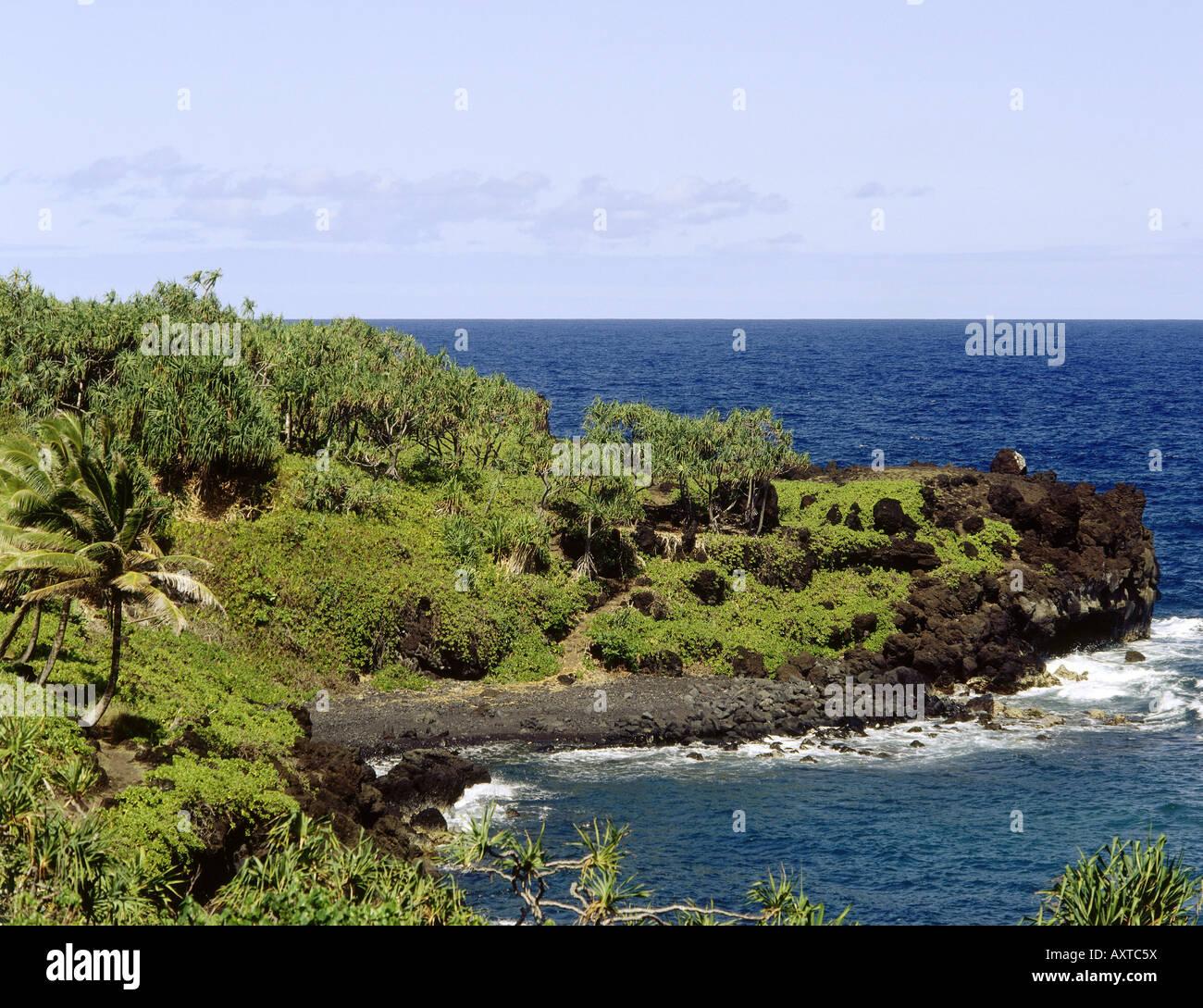 geography / travel, USA, Hawaii, Maui Island, Wainapanapa landscape, landscapes park, shoreline coast, coastline, Stock Photo