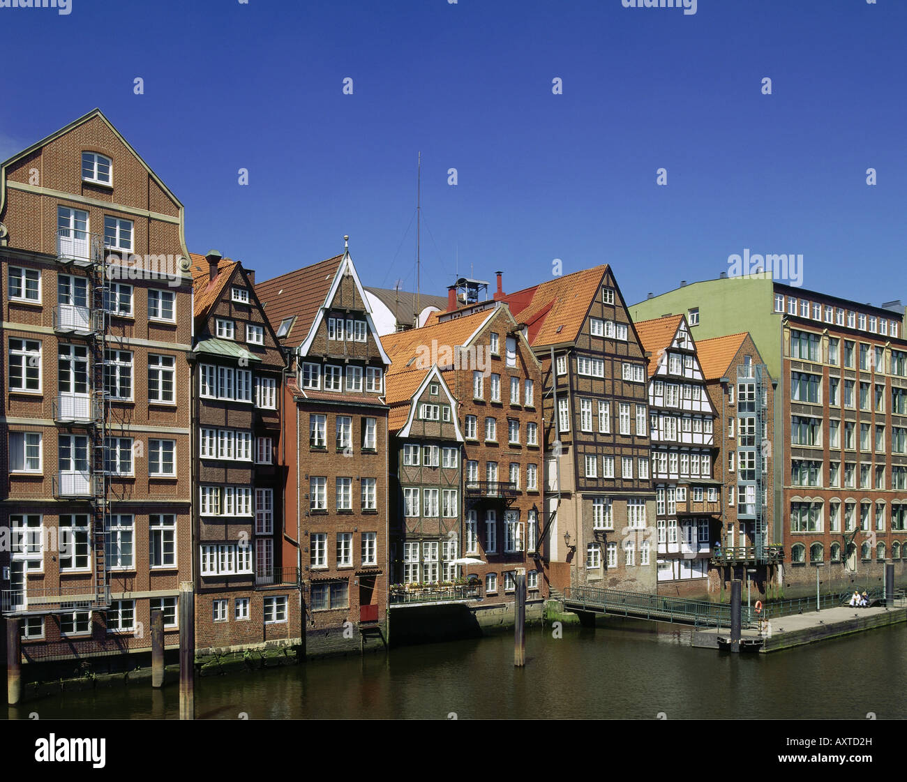geography / travel, Germany, Hamburg, city views, cityscape Nikolaifleet at inland harbour, historical, historic, Stock Photo