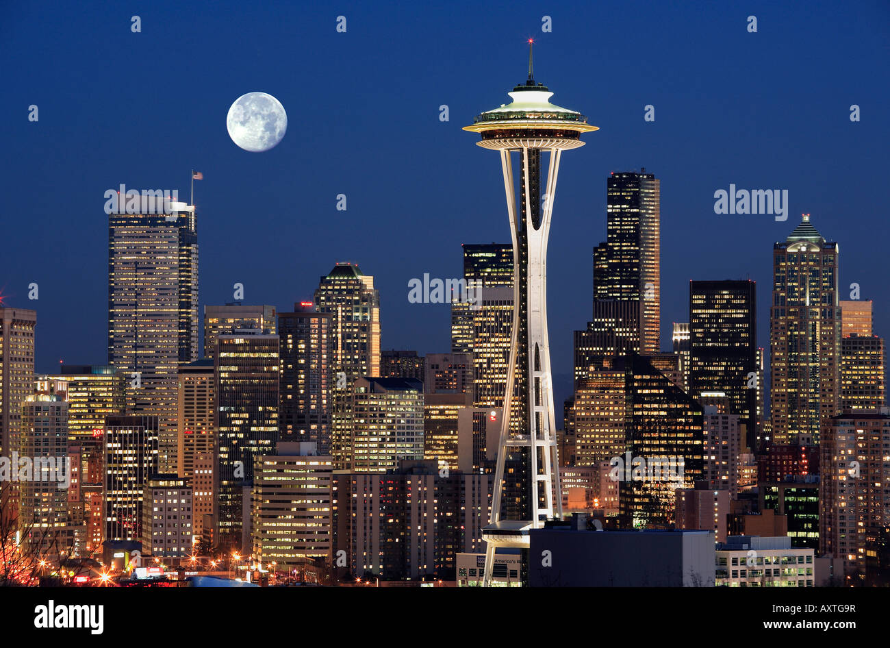 Seattle skyline from Kerry Park with full moon Stock Photo