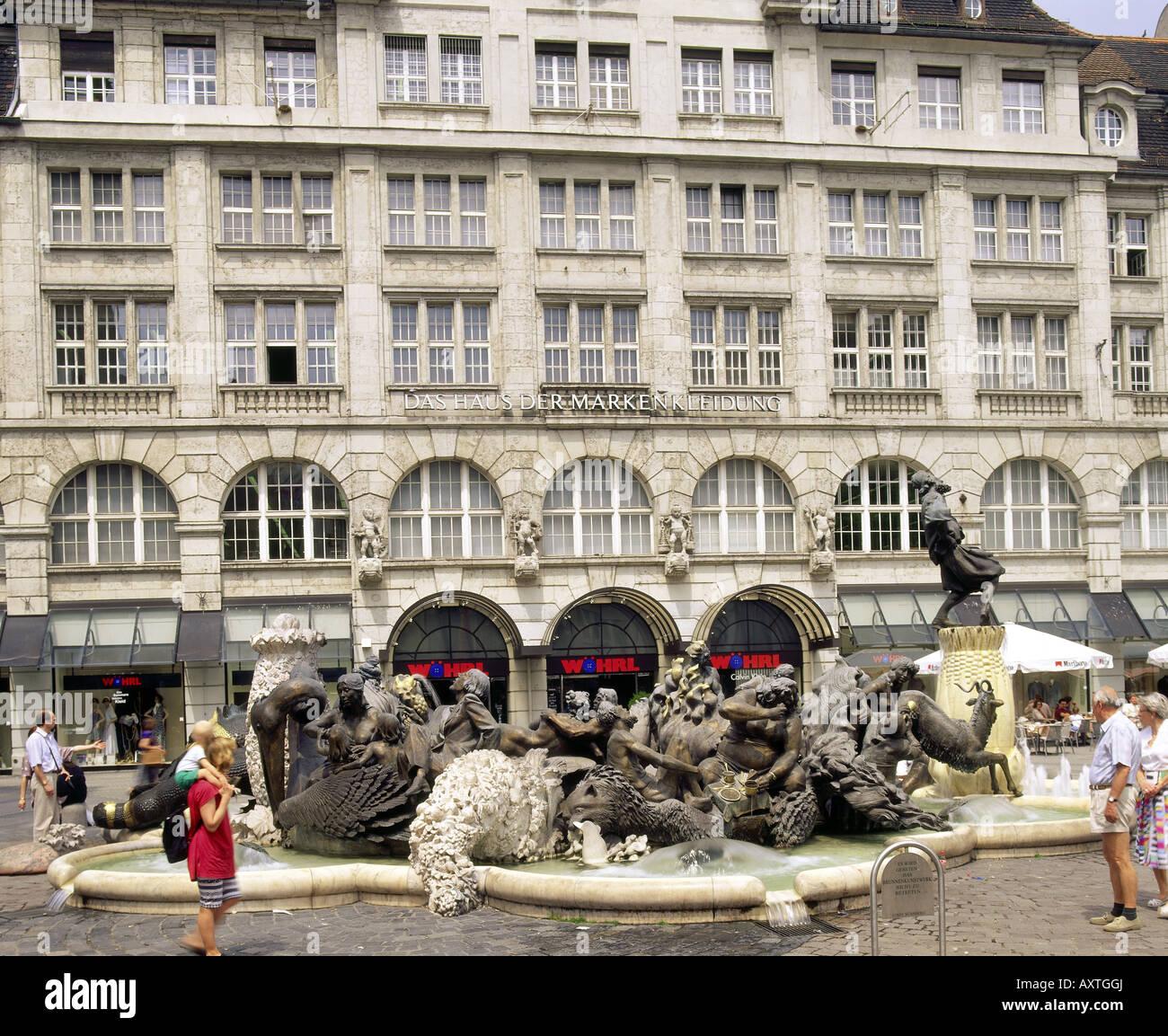 geography / travel, Germany, Bavaria, Nuremberg, Hans Sachs fountain, pedestrian precinct / pedestrian area, Ludwigsplatz, - Stock Image