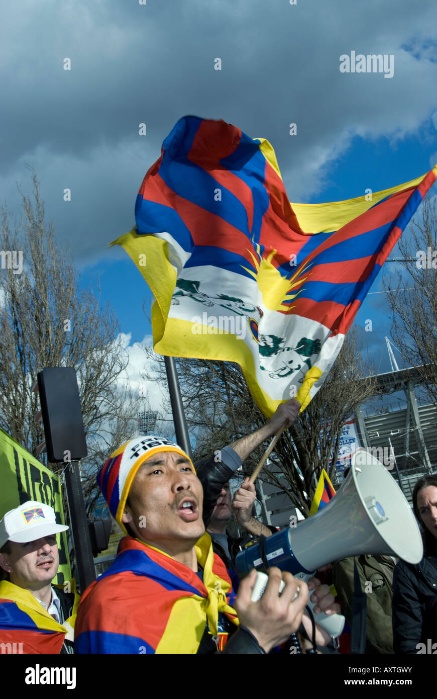 Paris FRANCE, Tibet Demonstration by Tibetan Immigrants 'Global Day for Tibet' Man Shouting Slogans with - Stock Image