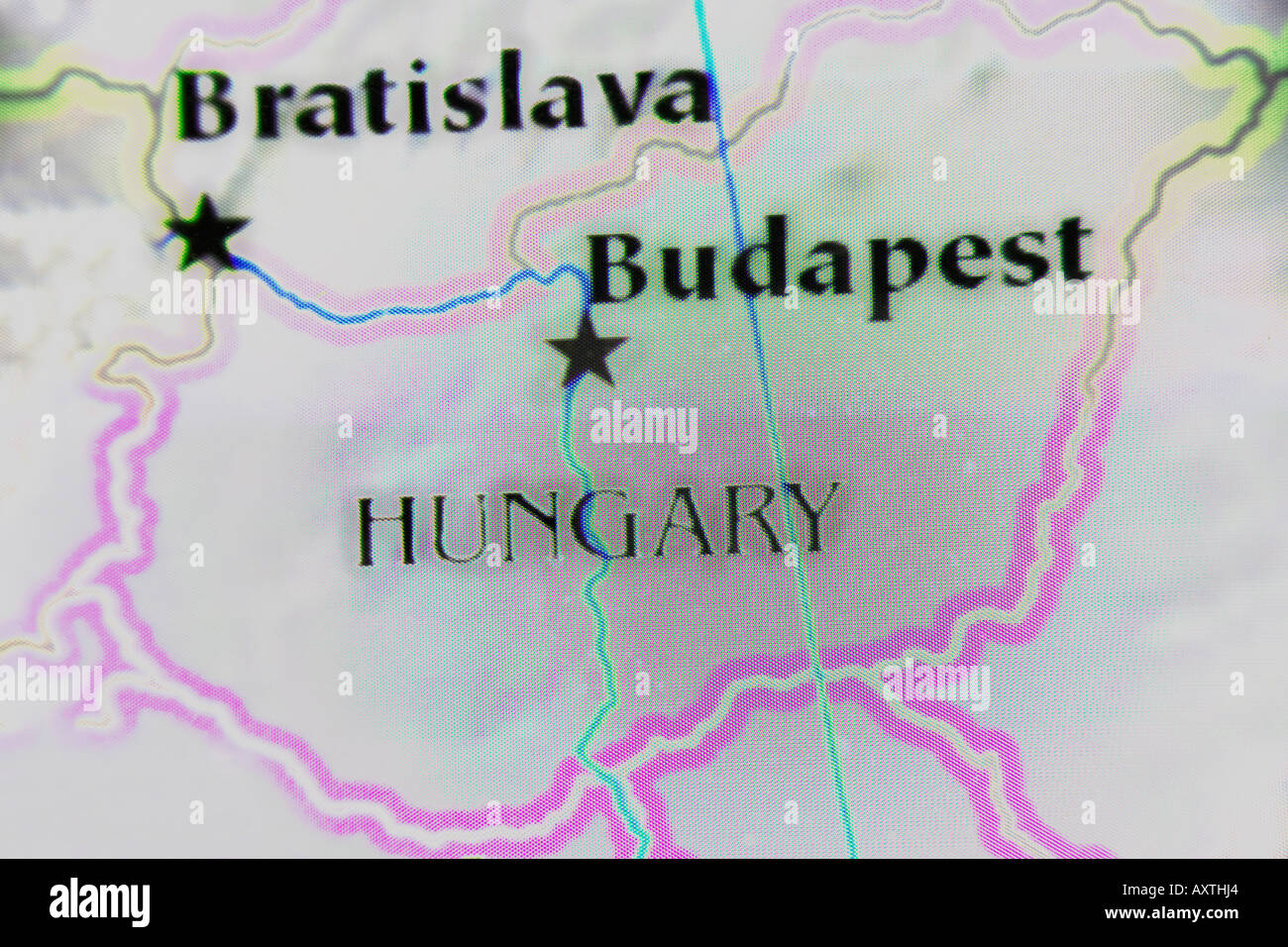 Picture of: Close Up Map Of The Country Hungary Located In Central Europe Stock Photo Alamy
