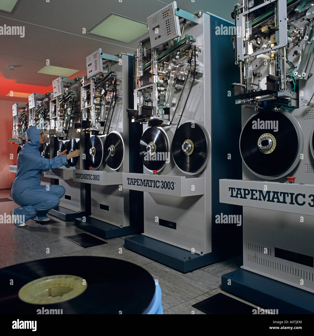 Mass production in duplication laboratory of movie films on