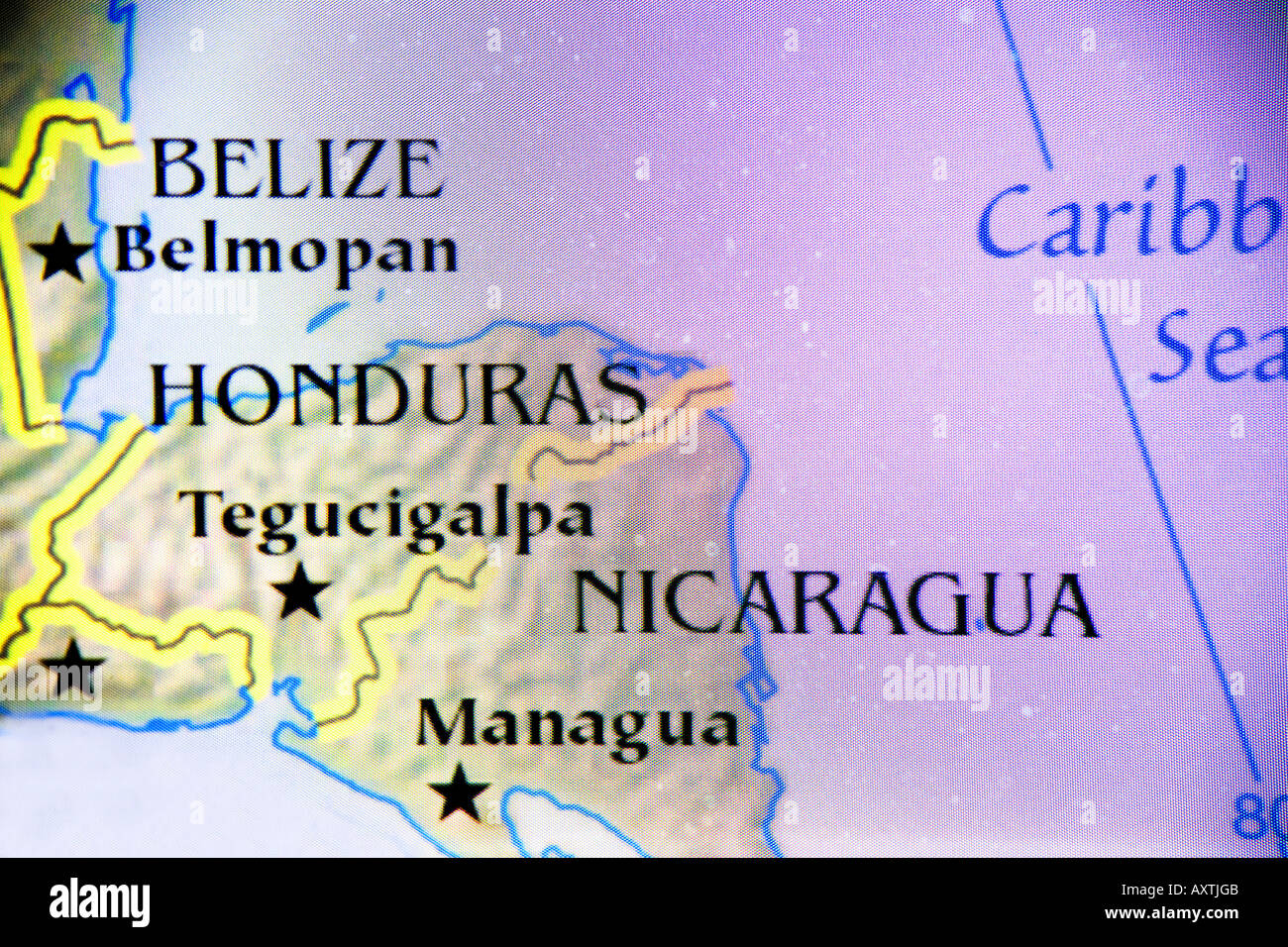 Close-up map showing the countries of Belize, Honduras, and ...