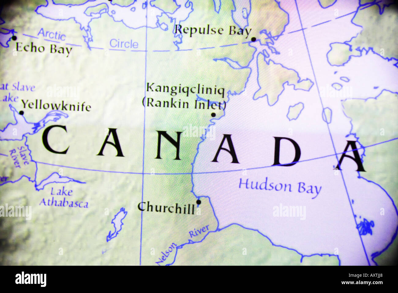 Country Of Canada Map.Close Up Map Of The Country Of Canada In North America Stock