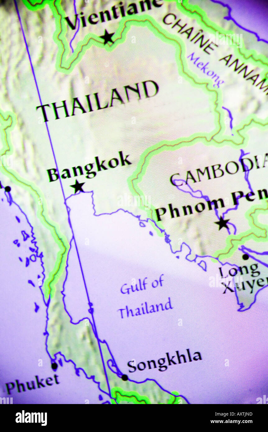 Current Map Showing The Countries Of Thailand And Cambodia In Asia