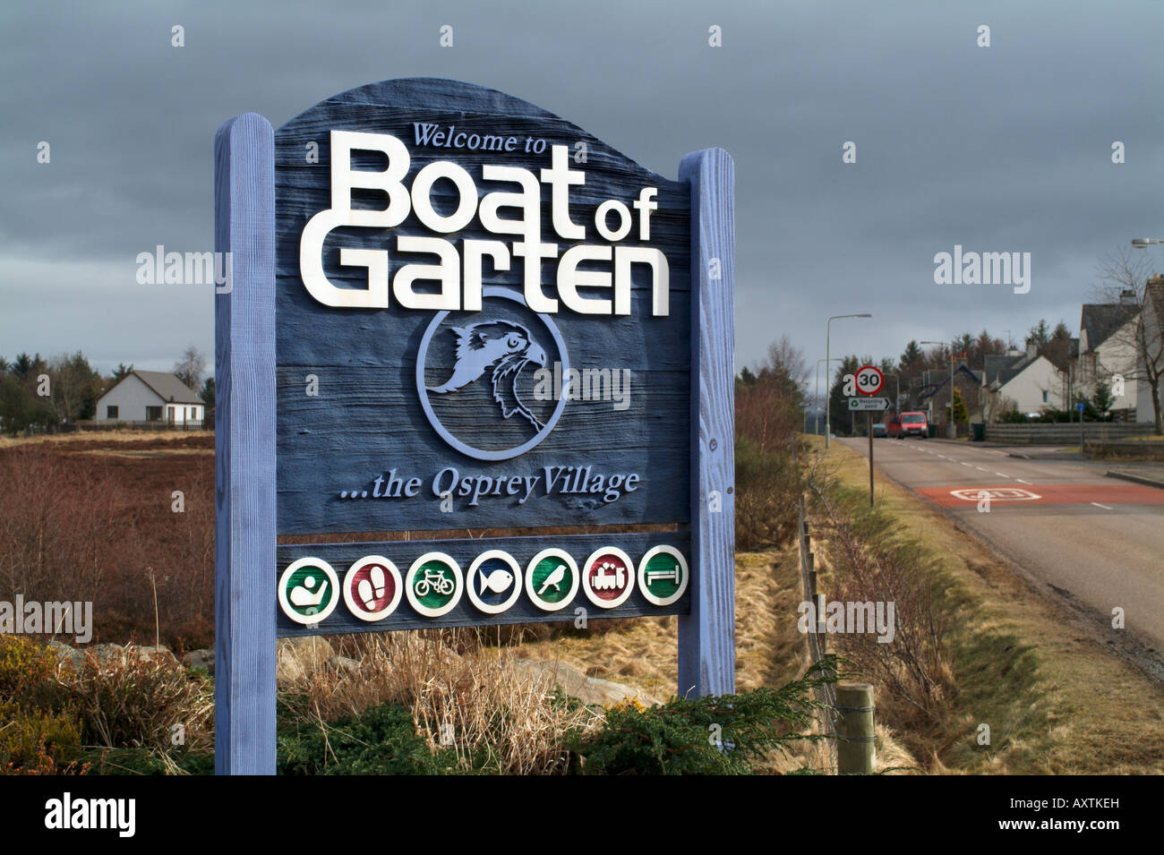 The 'Welcome to Boat of Garten' sign at the east end of the village Stock Photo