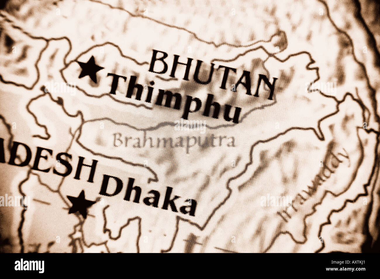Current Map Of The Country Of Bhutan Located In South East Asia