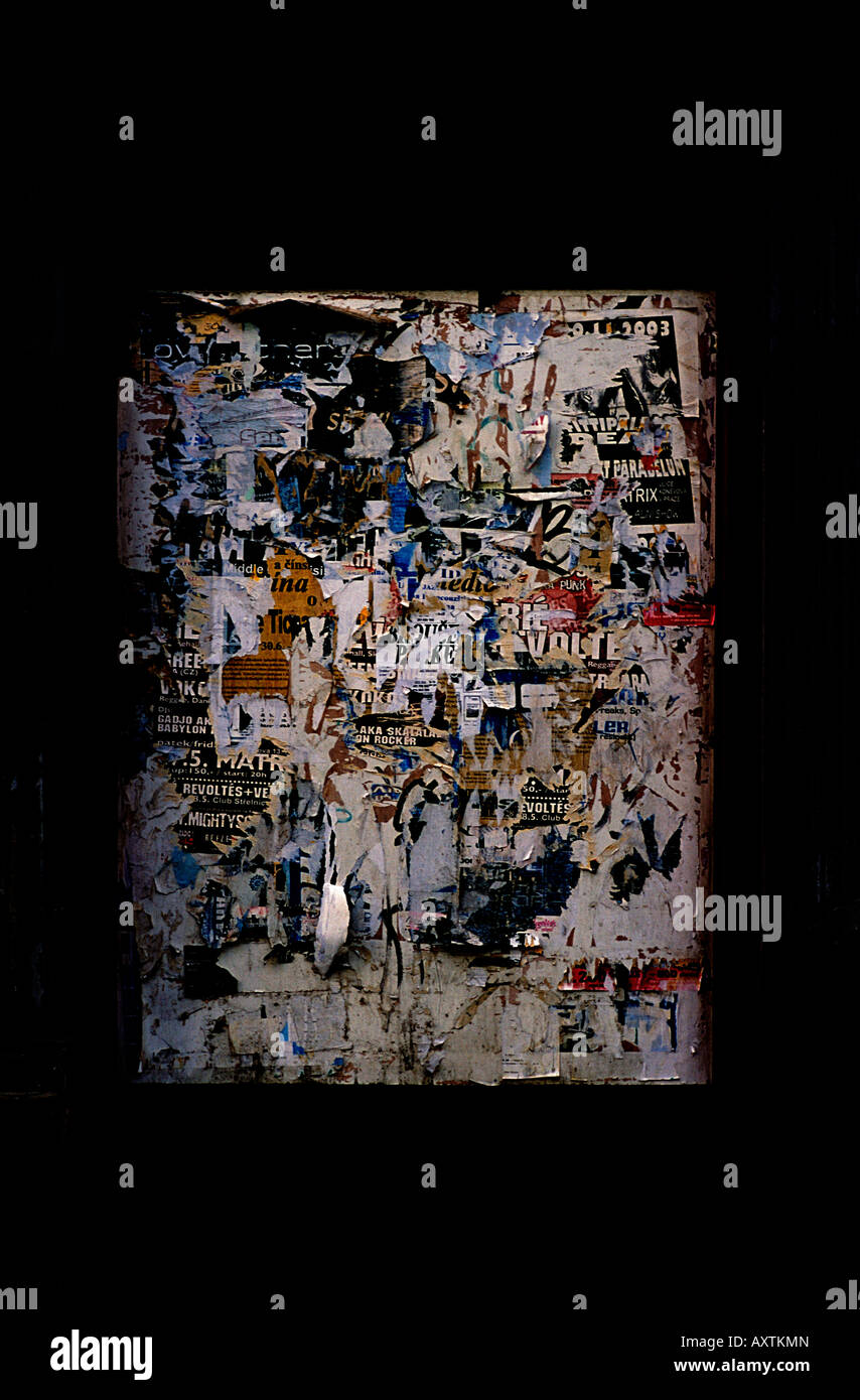 Abstract image of ripped wall poster in Prague Czech republic - Stock Image