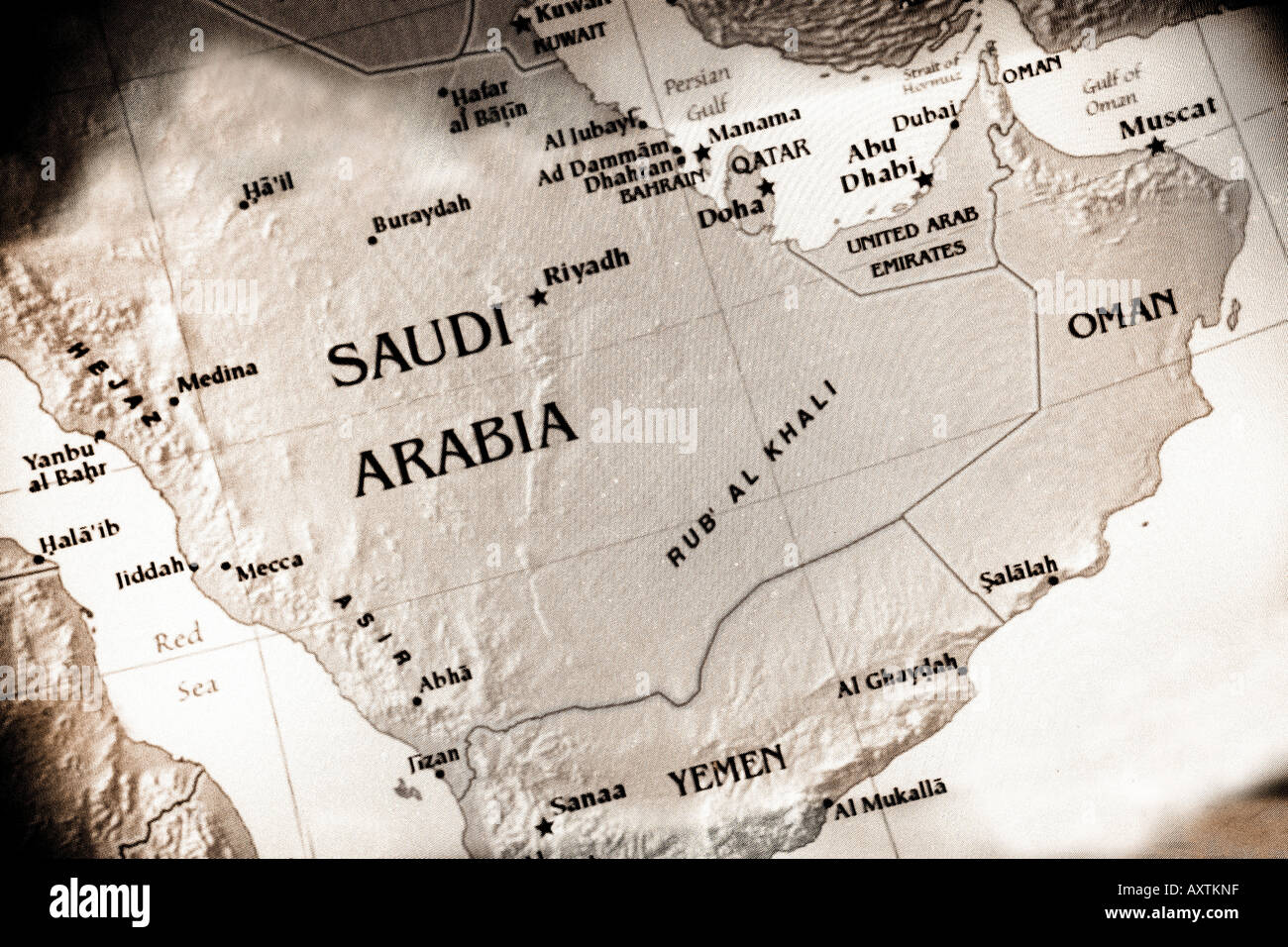close up map of saudi arabia in the middle east