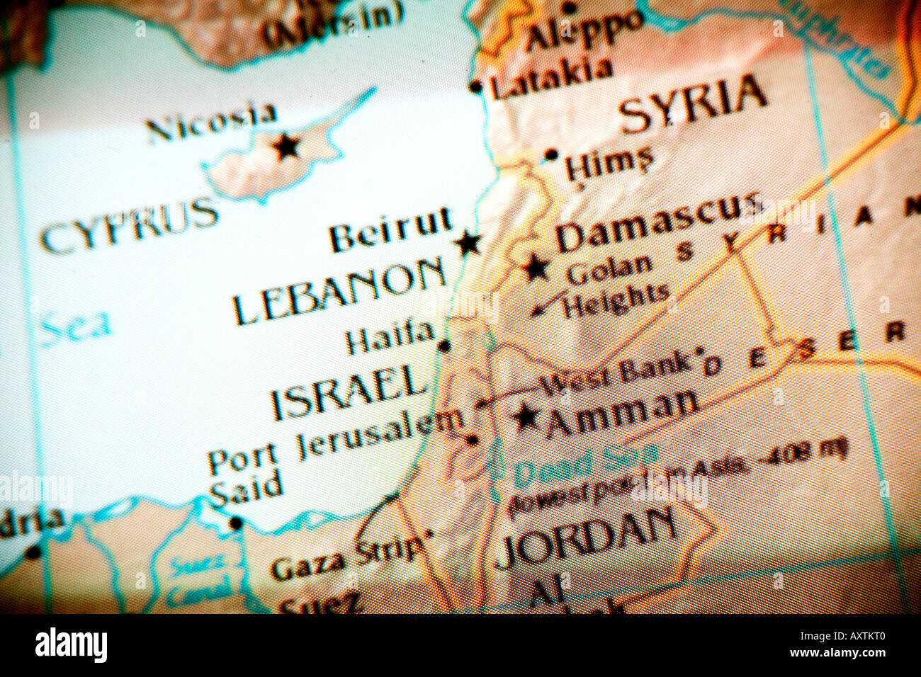 Current Map Showing The Countries Syria Cyprus Lebanon Israel