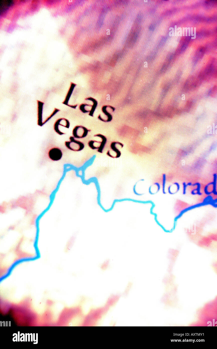 Extreme close up of a map showing Las Vegas, Nevada, in the ...