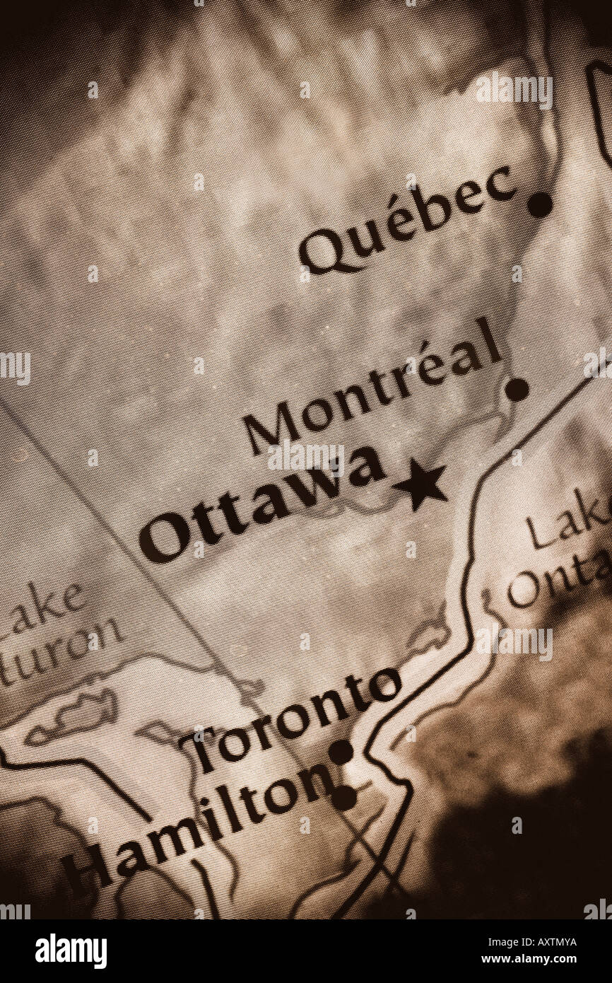 Close up map of Canada showing the cities: Ottawa, Montreal, Toronto ...