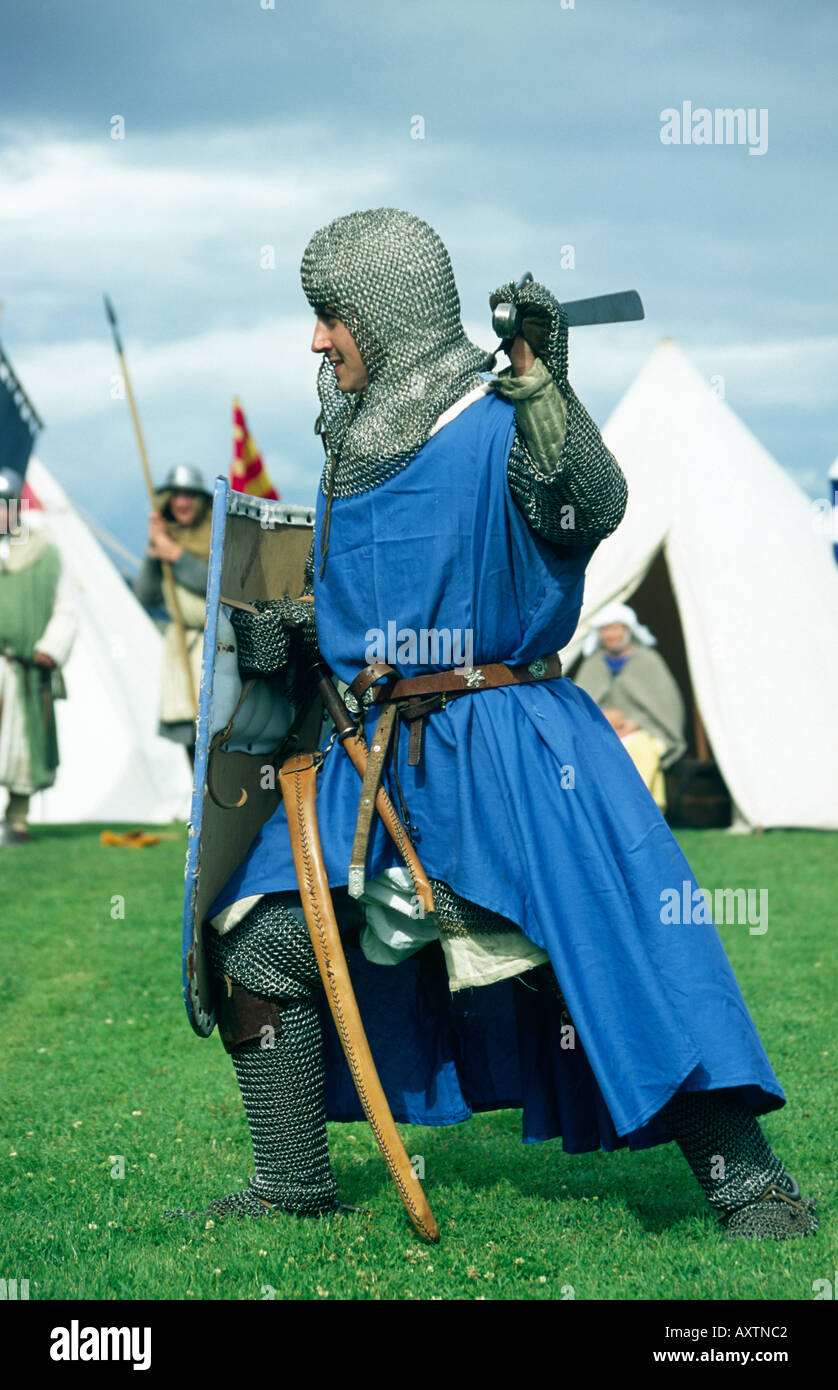 Man dressed as a Knight at an historical re enactment - Stock Image