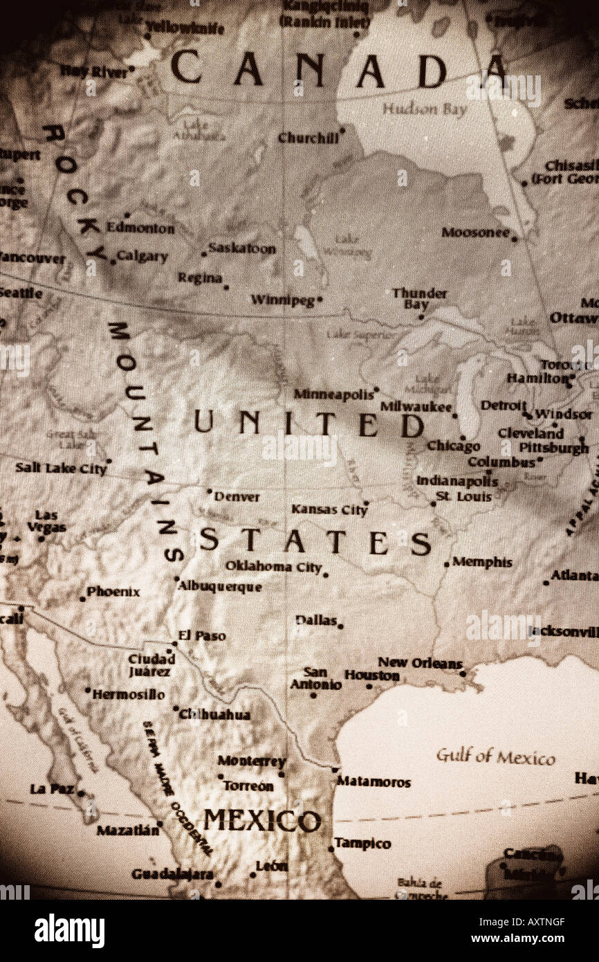 Map of North America - United States of America, Canada, and Mexico ...