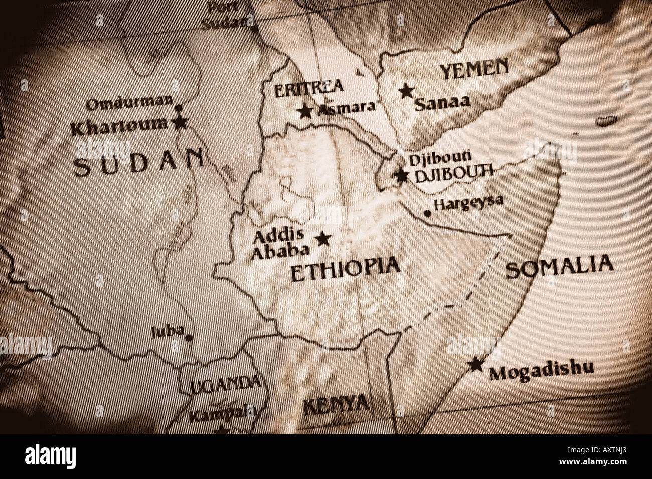 Ethiopia map stock photos ethiopia map stock images alamy current map showing the countries of sudan ethiopia kenya somalia uganda gumiabroncs Image collections