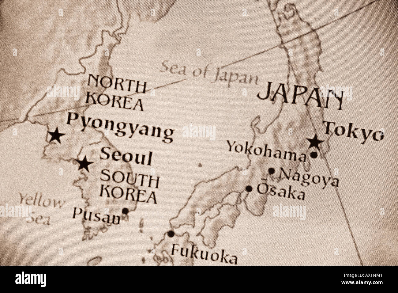 North korea map stock photos north korea map stock images alamy current map showing the countries of japan north korea south korea and the gumiabroncs Image collections