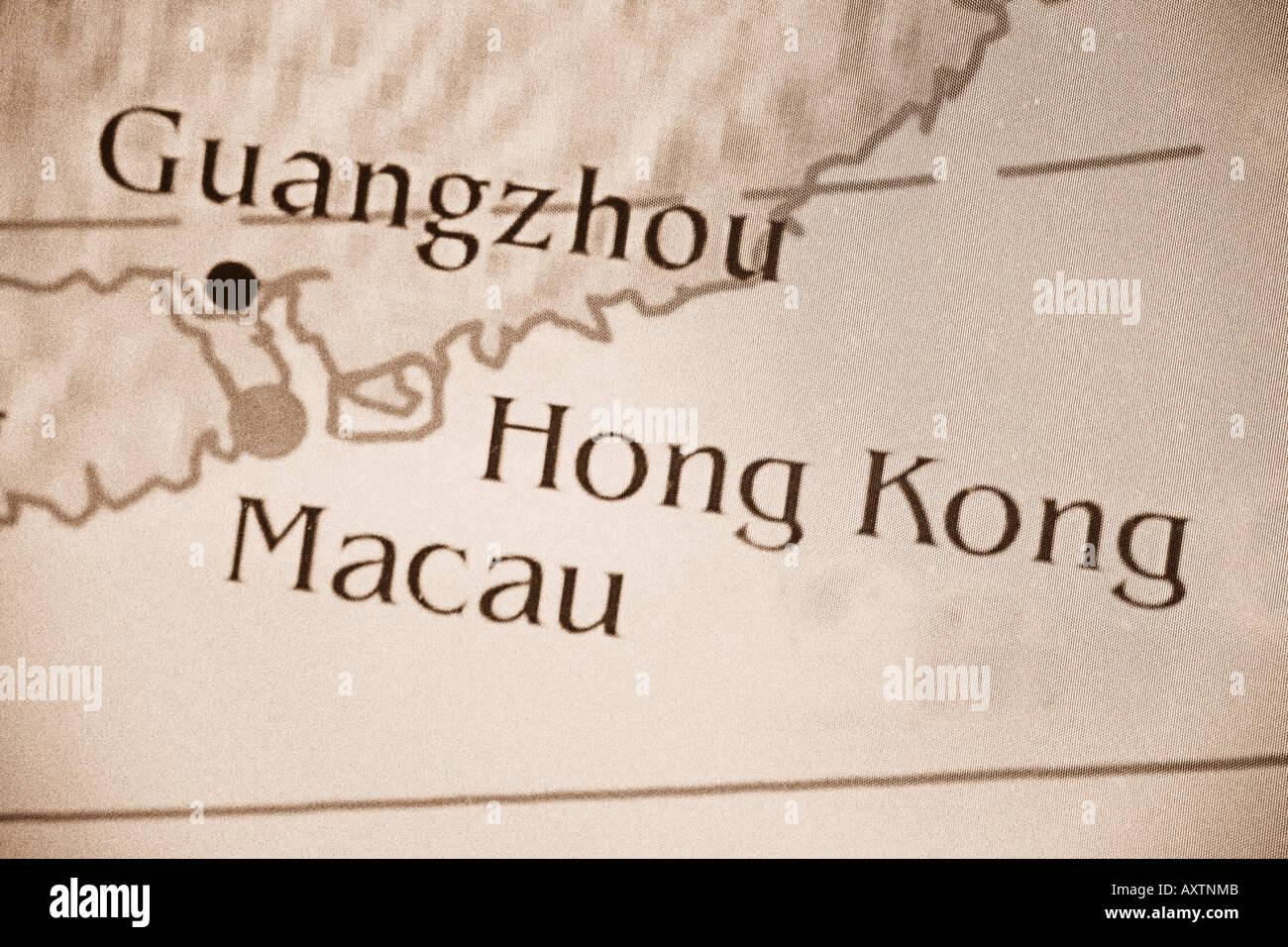 Close up map showing Macau, Hong Kong, and Guangzhou, China ...