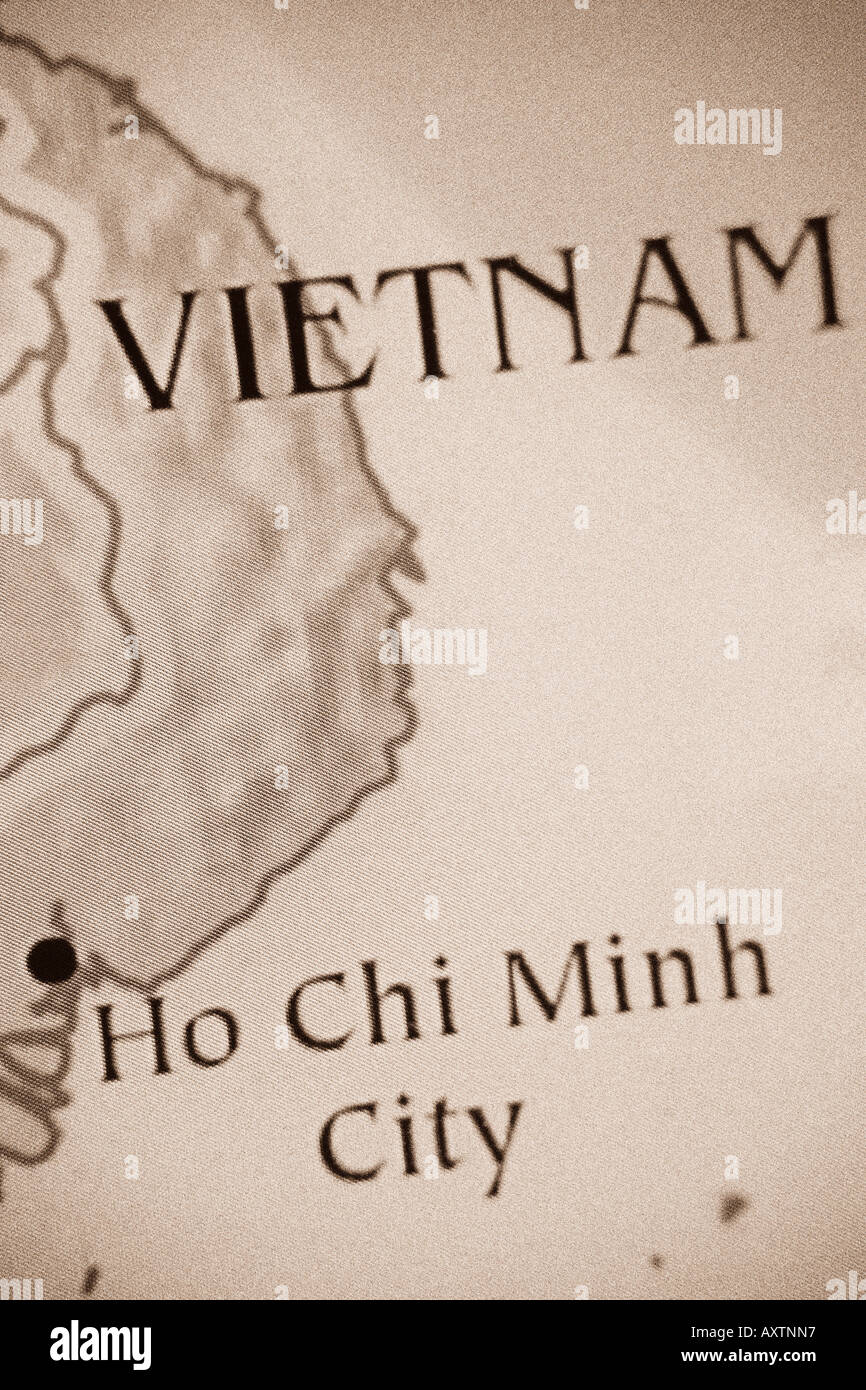 Current Map Of The Country Of Vietnam Located In Asia Stock Photo