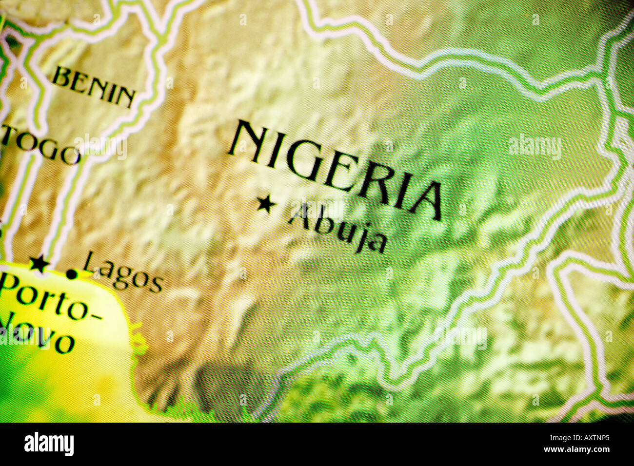 Current Map Of The Country Of Nigeria Located In Africa Stock Photo