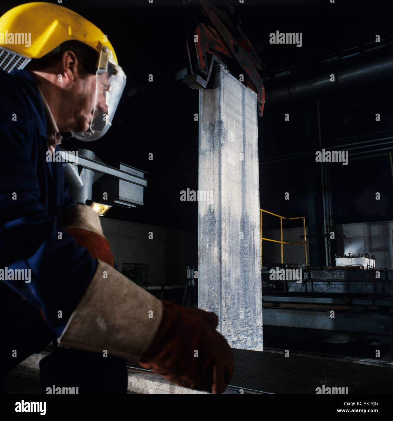 Aluminium Lithium billet being removed from furnace before further processing for use in aerospace industries - Stock Image