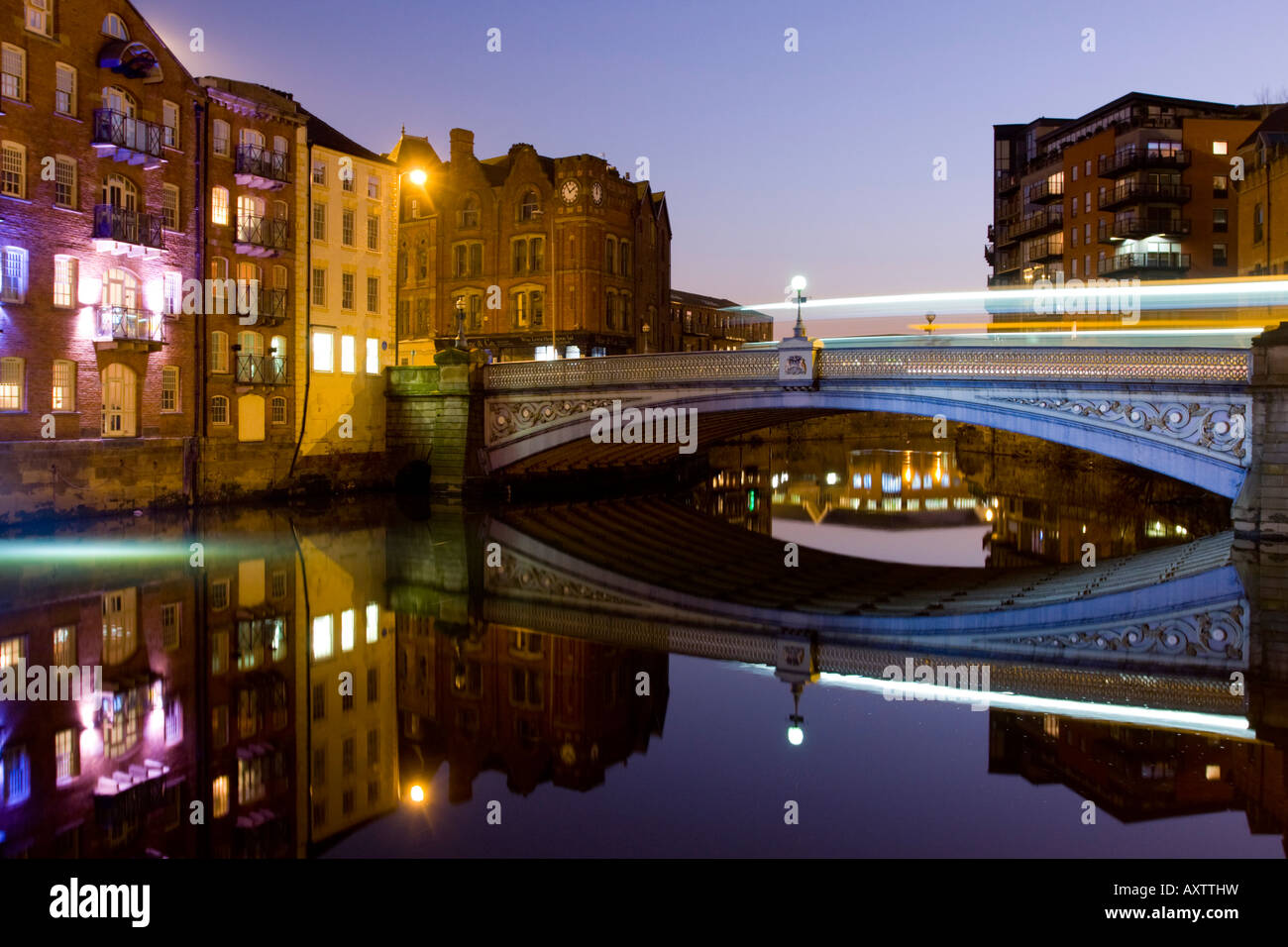 Leeds Bridge at dusk West Yorkshire UK with light trails - Stock Image