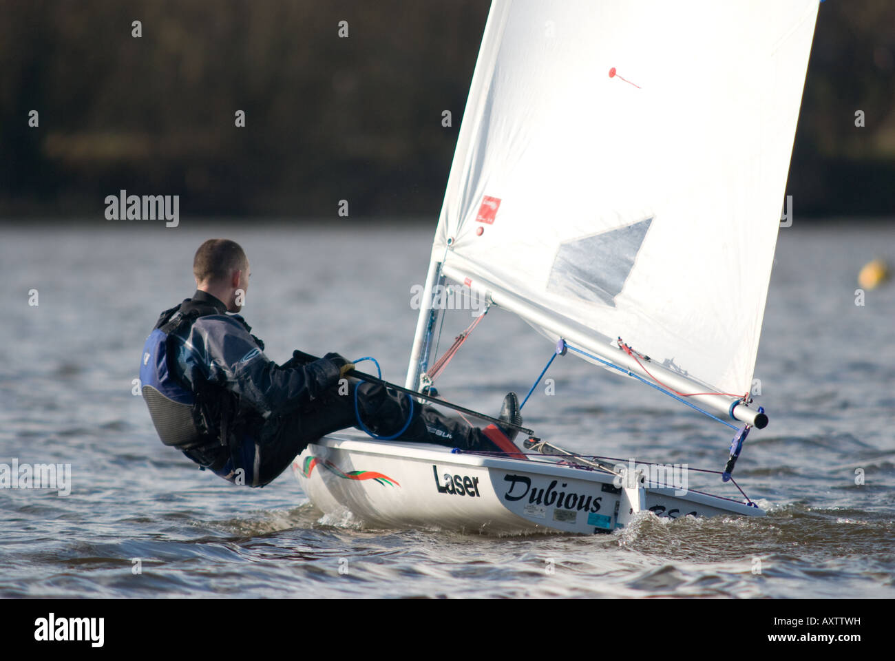 Yachtsman in full sail - Stock Image