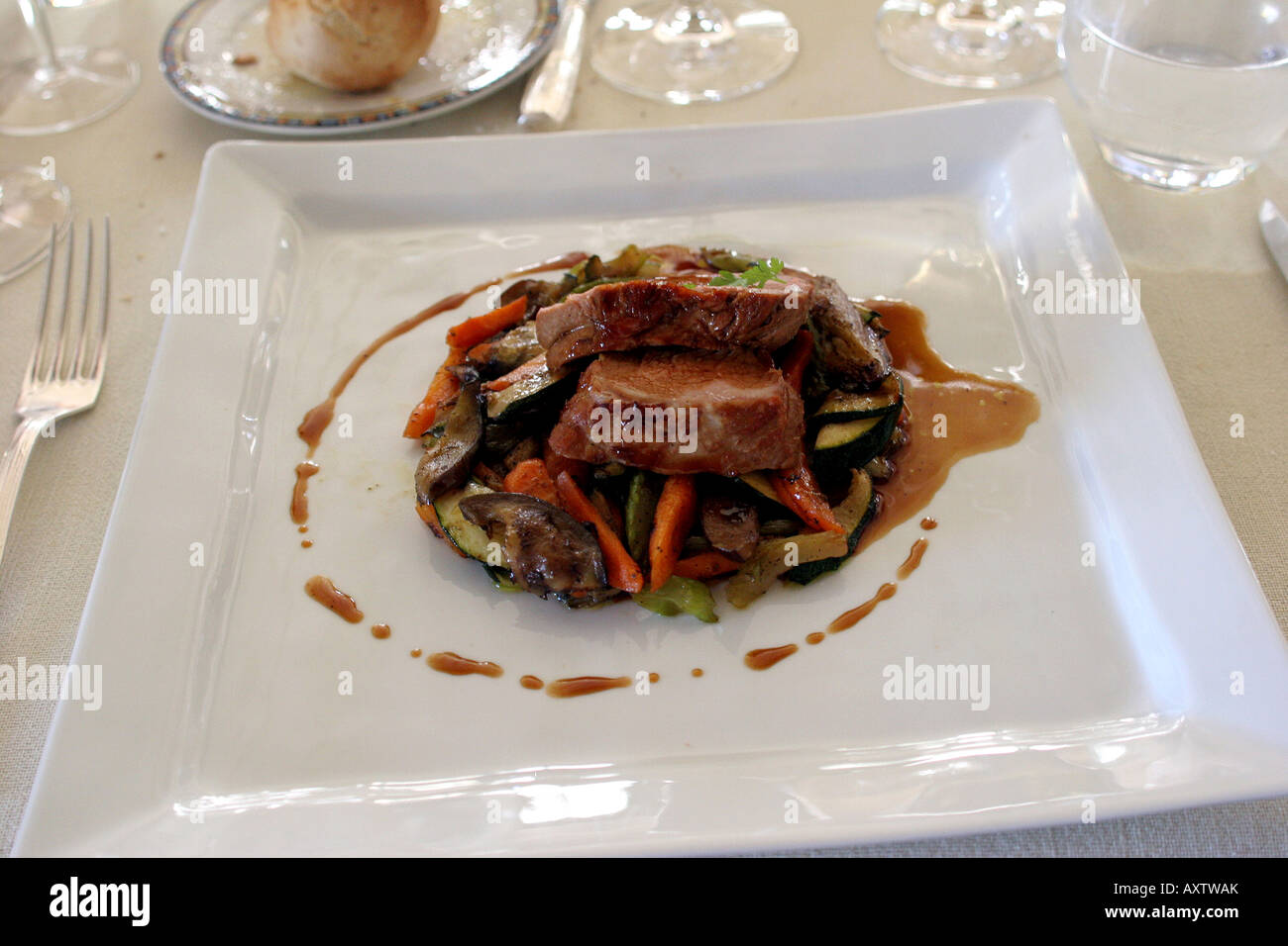 Presentation Of A Meat Dinner On White Dinner Plate Photo By Tom Stock Photo Alamy