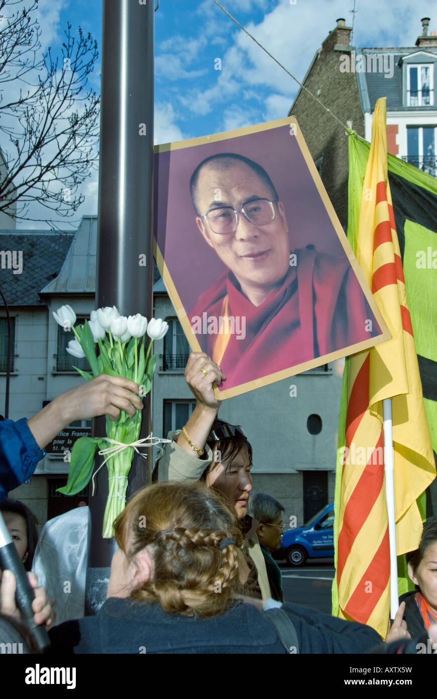 Paris FRANCE, 'Tibet Demonstration' by Tibetan Immigrants 'Day for Tibet' Holding 'Dalai Lama' - Stock Image